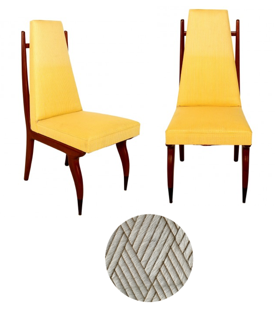 Eugenio Escudero dining chairs to reupholster in laser cut hair-on cowhide from Theo