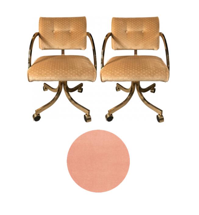 1980s brass swivel chair to reupholster in blush velvet