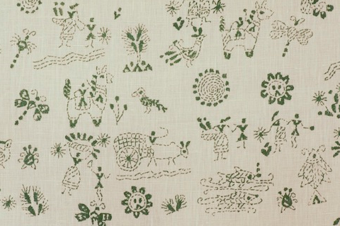 Penny Morrison Lucknow in green | Upholstery Fabric San Francisco Bay Area and Los Angeles