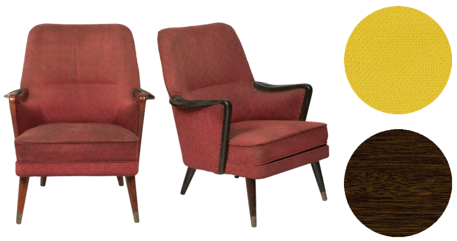 Mid century modern club chairs | reupholster in bright yellow Knoll Journey fabric and refinish wood in dark walnut stain