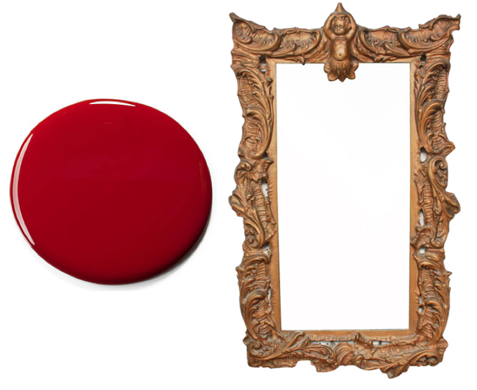 Vintage rococo style mirror | refinish with high gloss red lacquer