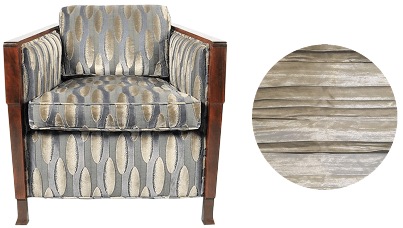 Art Deco club chair | Reupholster in ruched metallic upholstery fabric from Zinc Textiles