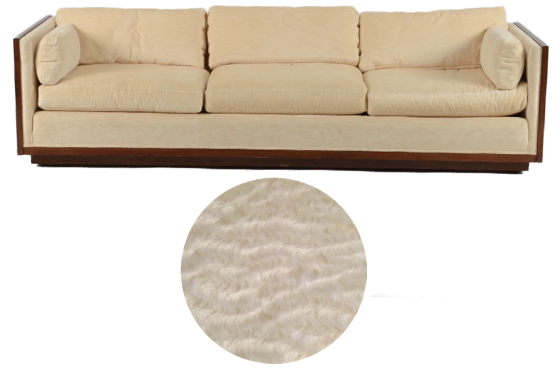Vintage Milo Baughman sofa | Reupholster in luxurious textural mohair from Decor de Paris