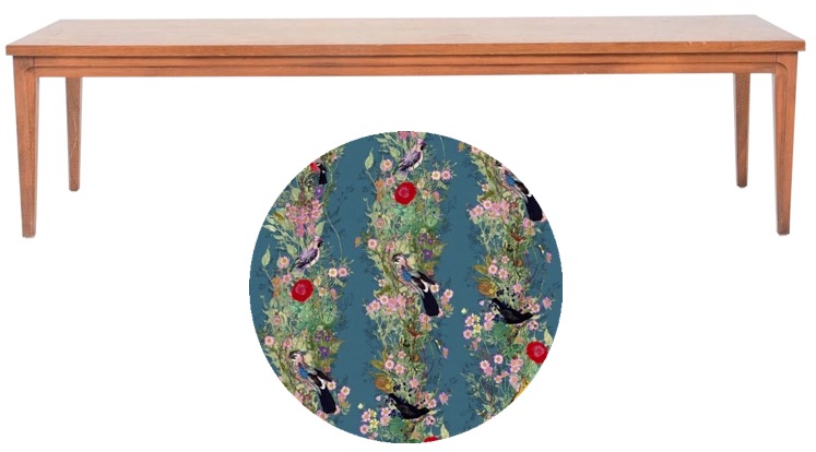 Clean line vintage bench | create upholstered seat cushion in whimsical fabric
