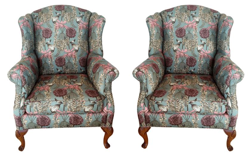 Revitaliste | Vintage wingback chairs upholstered in Abigail Borg Laburnum fabric