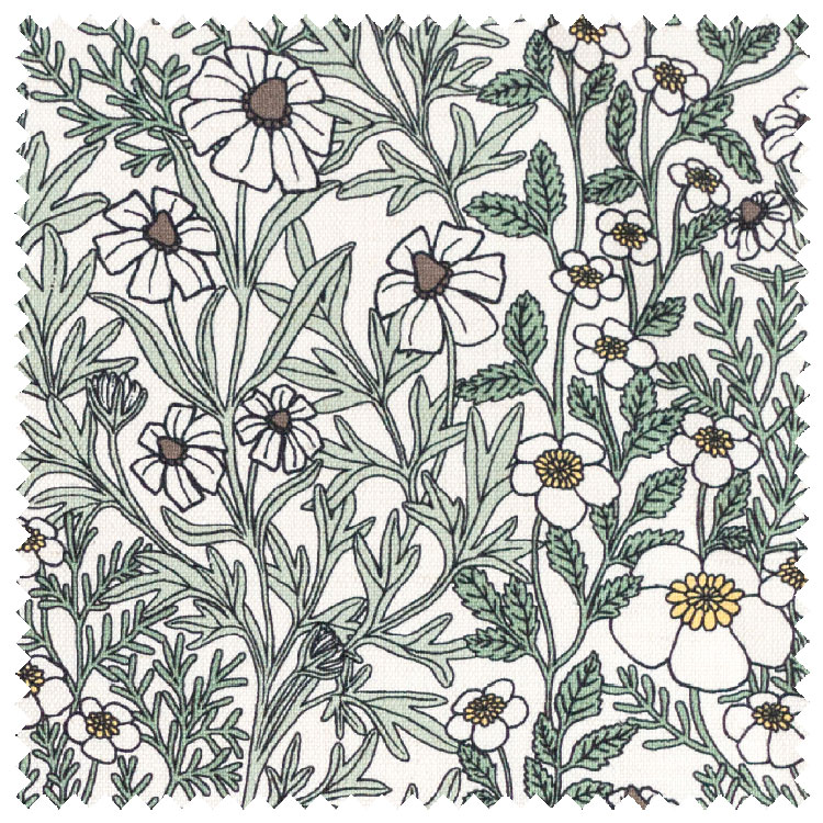 """Abigail Borg """"Feverfew"""" in Moss Upholstery Fabric"""