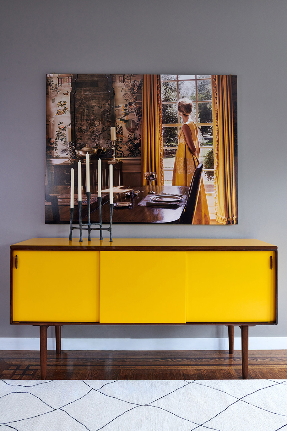 Teak mid century credenza restored with vibrant yellow lacquer
