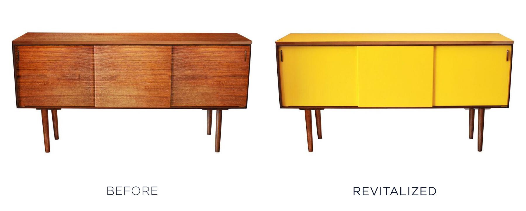Before and after vintage furniture makeover