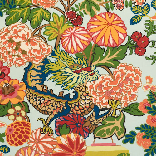 1. 'Chiang Mai Dragon' in Aquamarine, by Schumacher - We love everything about this unique chinoiserie pattern: from the festive dragon, to the vivid blue colorway. When we learned that Schumacher had made 'Chiang Mai Dragon' in indoor/outdoor fabric, we couldn't have been more excited about all of the possibilities!
