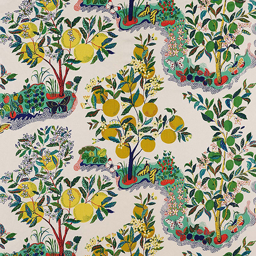 5. 'Citrus Garden' in Primary, from Schumacher - We adore this archival printed pattern from Schumacher. Originally created in 1947 by design legend Josef Frank, this delicately hand-drawn print adds a touch of whimsy and charm to any space. Now that its indoor and outdoor, it may be one of the most versatile fabrics around.