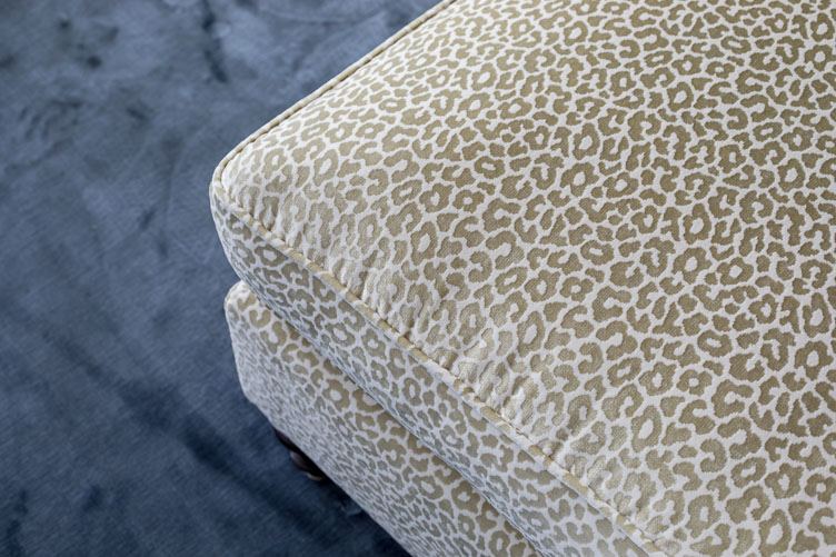 """Revitaliste reupholstered this Upholstered Bench in Schumacher """"Madeleine"""" velvet fabric in a neutral colorway."""