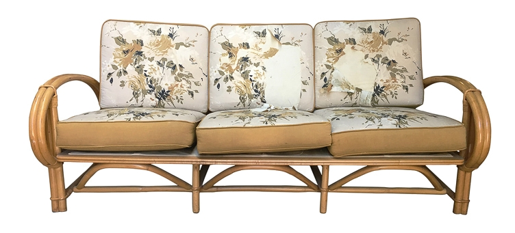 Vintage Rattan Sofa reupholstery San Francisco Bay Area and Los Angeles