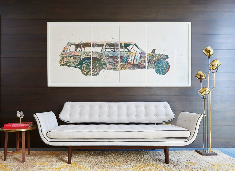 """Revitaliste reupholstered this Edward Wormley Gondola Sofa in Holly Hunt """"Melody"""" in Tenor."""