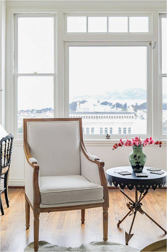 """Revitaliste reupholstered this Pair of Gustavian Arm Chairs in Perennials """"Plushy"""" in blanca and refinished the wood frames in a light walnut wood stain."""