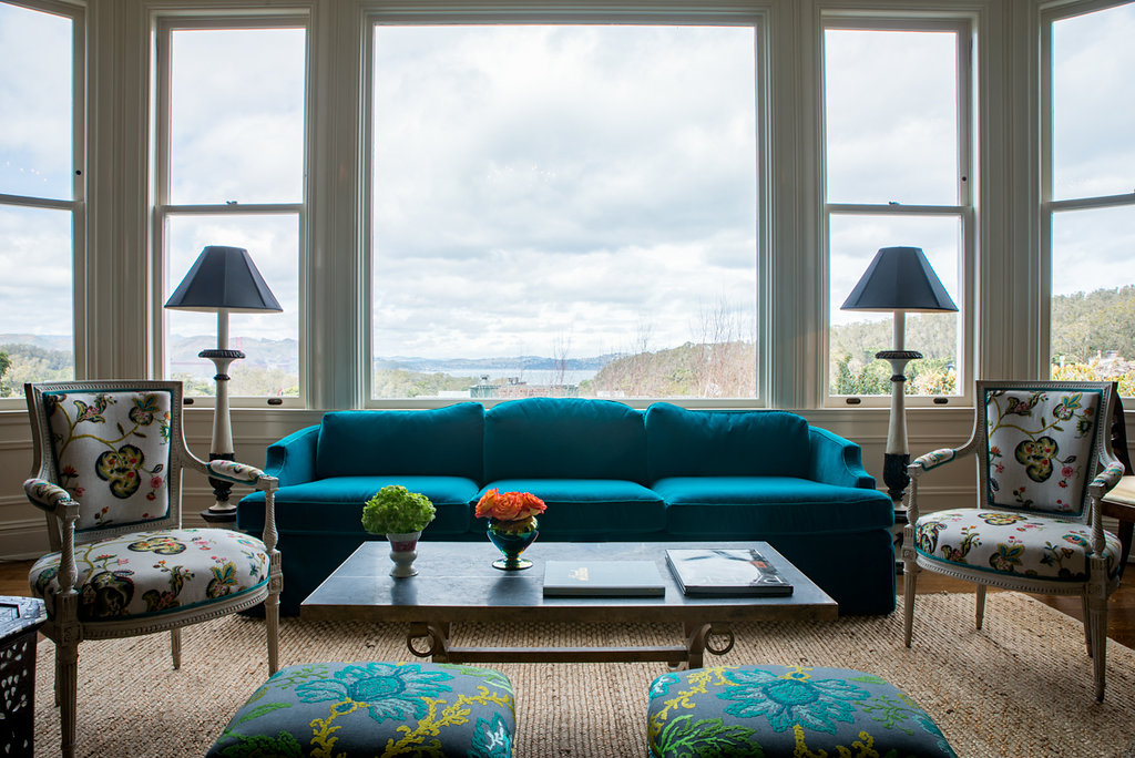 "Revitaliste reupholstered this Dorothy Draper Sofa in Pindler ""Titan"" in azul."
