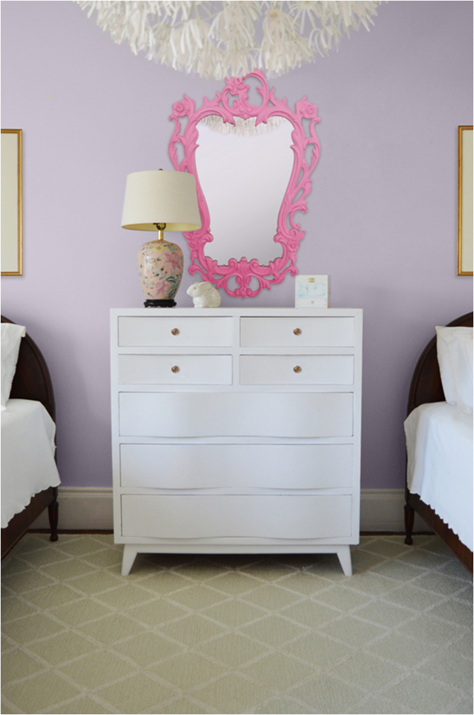 Revitaliste stripped and refinished the Vintage Dresser with a white semi-gloss lacquer and added new marquise-cut pink glass drawer pulls.