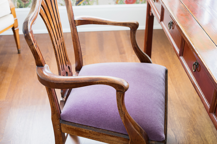 Revitaliste reupholstered this Antique Chippendale Chair in a dark lavender mohair fabric.