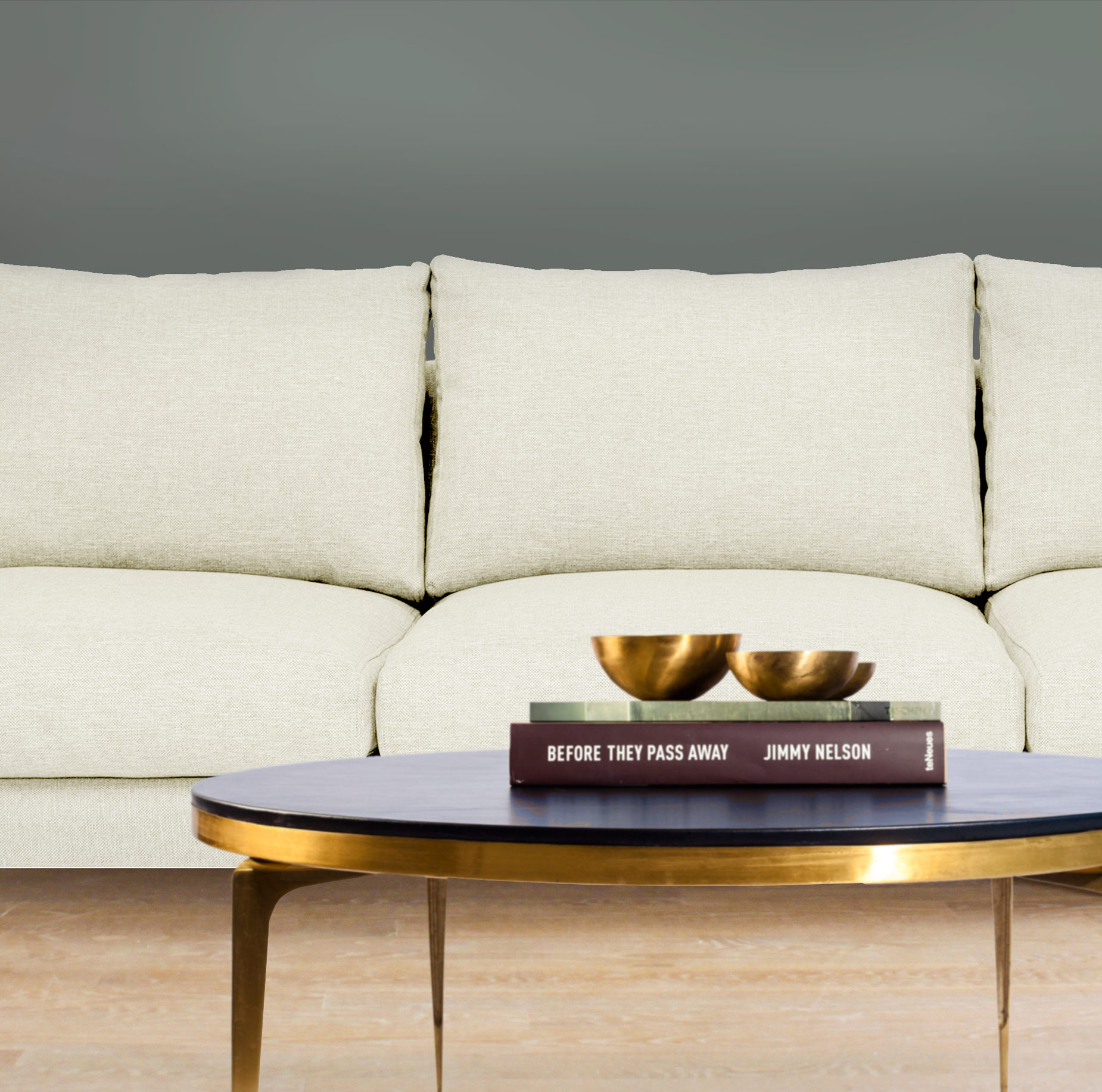 Revitaliste transformed the Brass Coffee Table with a blue leather top.