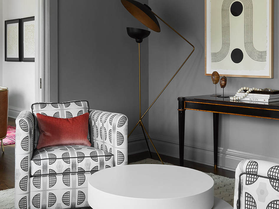 Elworthy Studio's 'Half Moon' textile in a space designed by Jen Talbot.