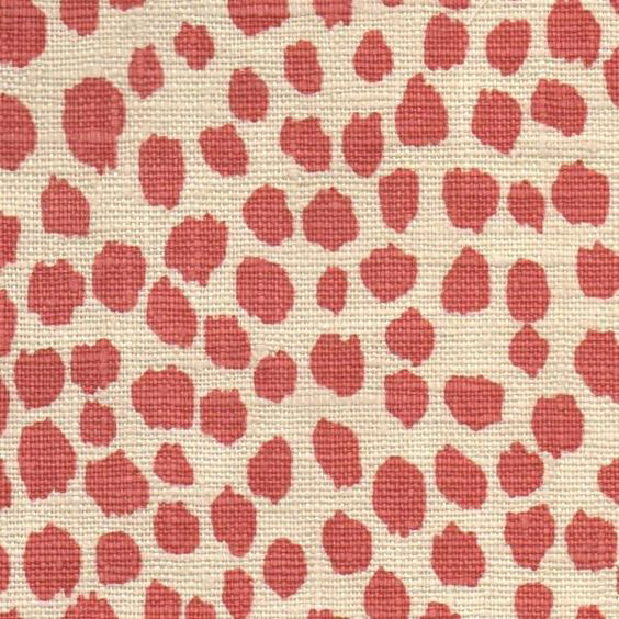 Michael Devine 'Dottie' in Coral - We love the 'Dottie' linen upholstery fabric for its whimsical yet versatile pattern. With a hand-painted, leopard-like design, Dottie works on both a large and small scale as either a complement to a bold print, or as center stage itself.