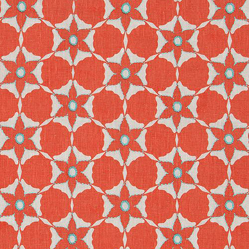 Vanderhurd 'Flower Cut Out/Sunset' in Coral & Aqua Moonstone - A geometric pattern evocative of 70s prints, 'Flower Cut Out/Sunset' upholstery fabric is a fun, bold choice with an undoubtedly vintage vibe.