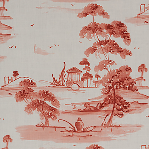 Jane Shelton 'Toile Plate' in Coral - Featuring a scenic landscape of tall, wispy trees and footbridges, 'Toile Plate' upholstery fabric in Coral is a classic and timeless pattern, with a new traditional twist.