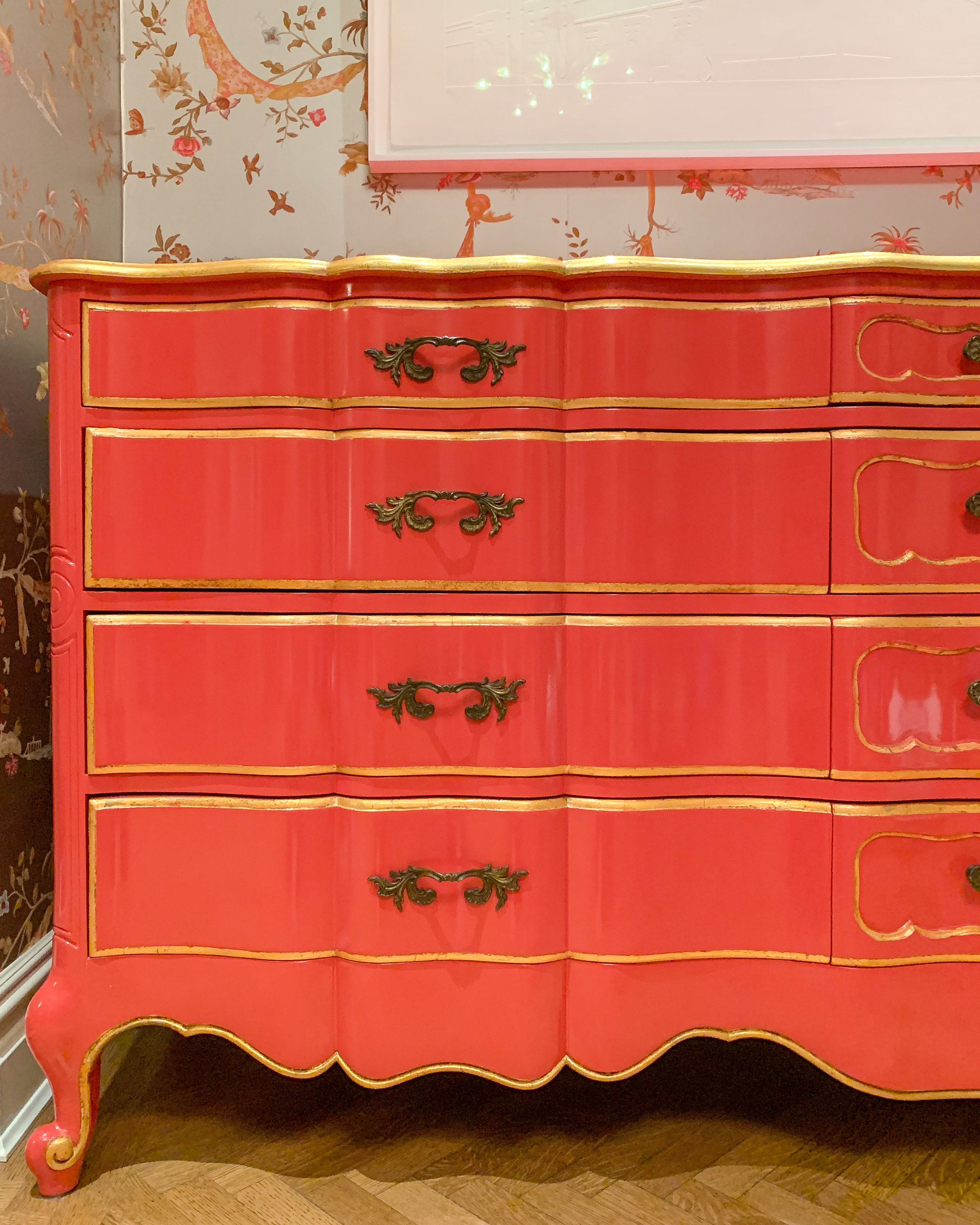 Lacquered Vintage Dresser  - Vintage French provincial style dresser lacquered in a custom coral color with gilded detailing to accentuate the beautiful lines.