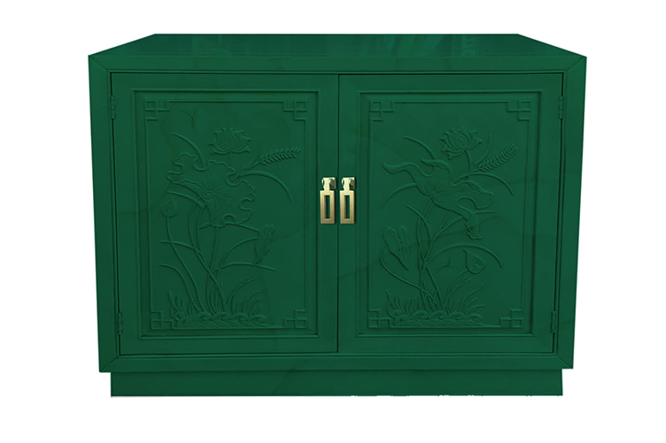 AFTER: vintage cabinet lacquered emerald green