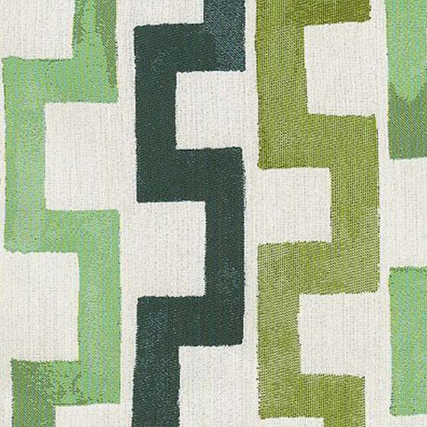 "5. Hable Construction ""Fluidity"" in Lagoon - Hable Construction is a master of creating geometric, painterly patterns, and Fluidity in Lagoon colorway is one of our favorites. With varying shades of green, from nautical green to deep forest, this upholstery fabric can be paired with both cool and warm toned finishes."