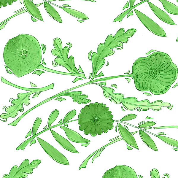 "6. Nine Muses ""Floral Plate"" in Green - The perfect shade of true kelly green printed on crisp white, 'Floral Plate' upholstery fabric is sure to liven up any space. We adore the hand drawn botanicals of this pattern, and would love to see this modern design on any piece, from an antique settee to a vintage club chair."