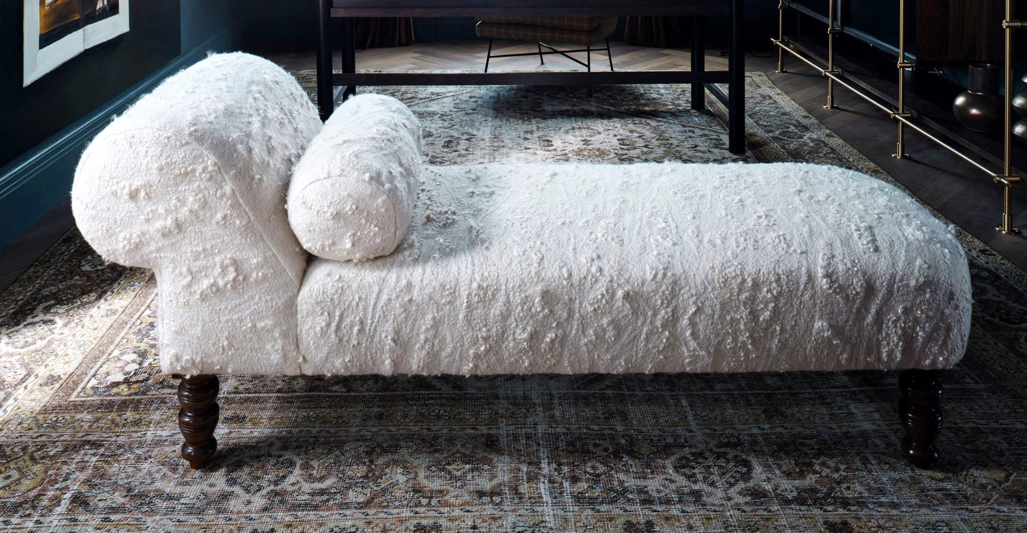 Revitaliste | Vintage chaise longue reupholstered in custom made cashmere and silk felt