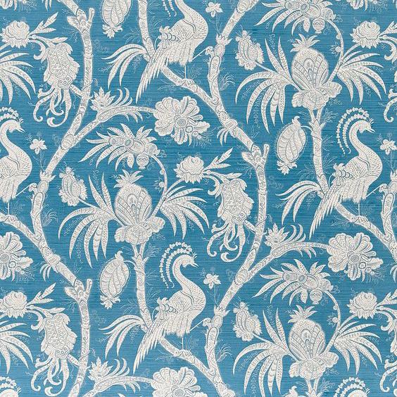 "Bennison Fabrics ""Phoenix"" in Mid Blue on Oyster"