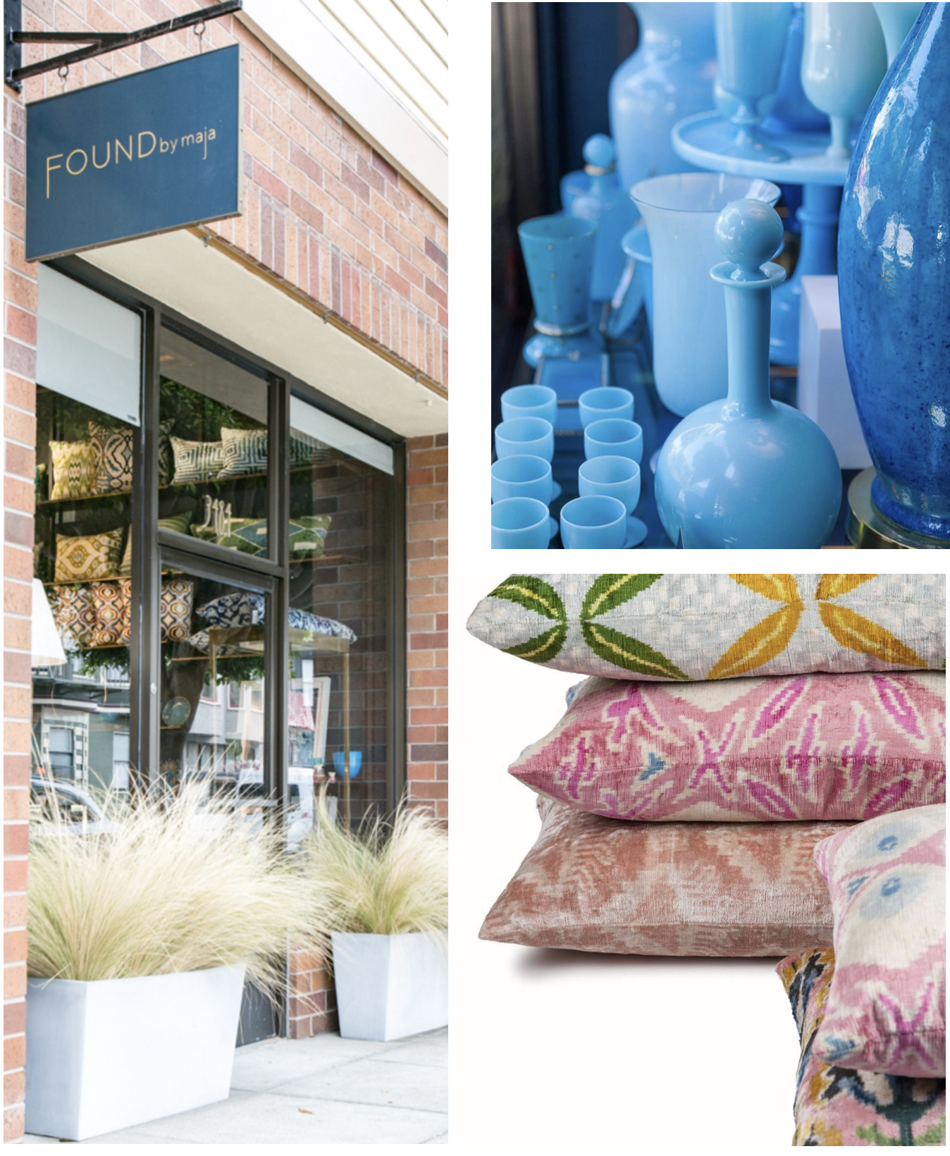 Found by Maja - A passionate treasure hunter, Maja travels the globe to gather and share special textiles, rugs, furnishings, lighting and decorative home accessories. The result is a soulful and eclectic mix of revitalization-worthy vintage finds and special pieces that call out for the resurgence of cocktail hour.Must Buy: imported one-of-a-kind textiles, vintage barware, treasures from far away destinationsvisit website