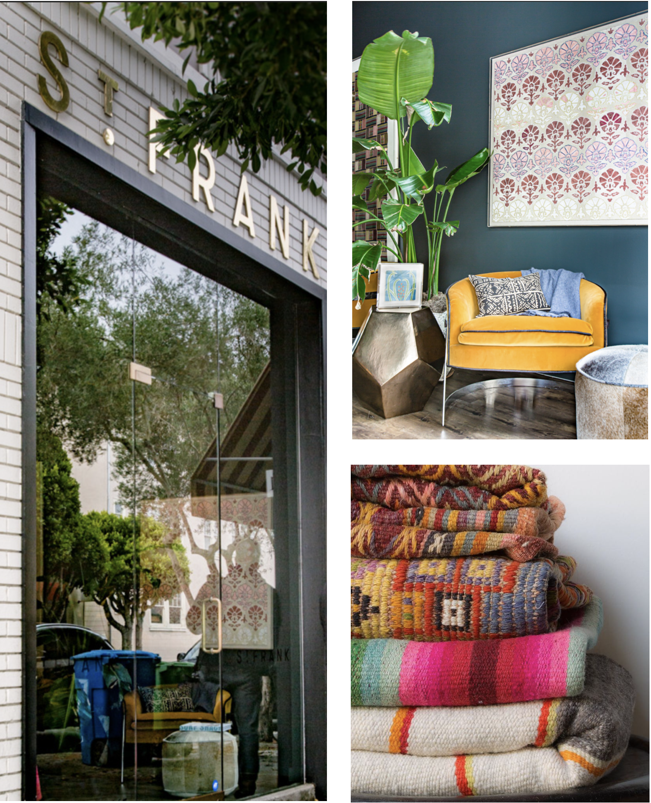 St Frank - St Frank partners with artisans around the world to feature a unique array of heritage crafts with a story. Handmade global textiles by the yard, from mud cloth to kilim and beyond, get our creative juices flowing… wondering what fantastic piece we can revitalize next, or is a custom pillow project in store?Must Buy: a globally-inspired fabric for a Revitaliste custom pillow project, a tabletop curiosity for your favorite traveler, a cookbook of worldly cuisinevisit website
