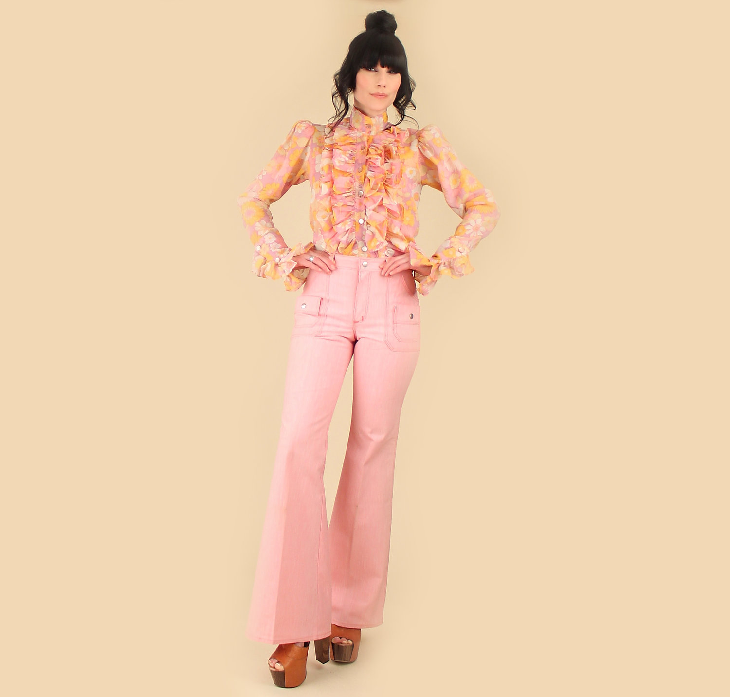 Vintage 70s Pink Bell Bottoms // DEADSTOCK // By Maverick