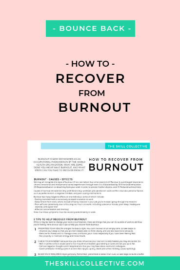Tips on how to recover from burnout by The Skill Collective, psychologists in Subiaco Perth