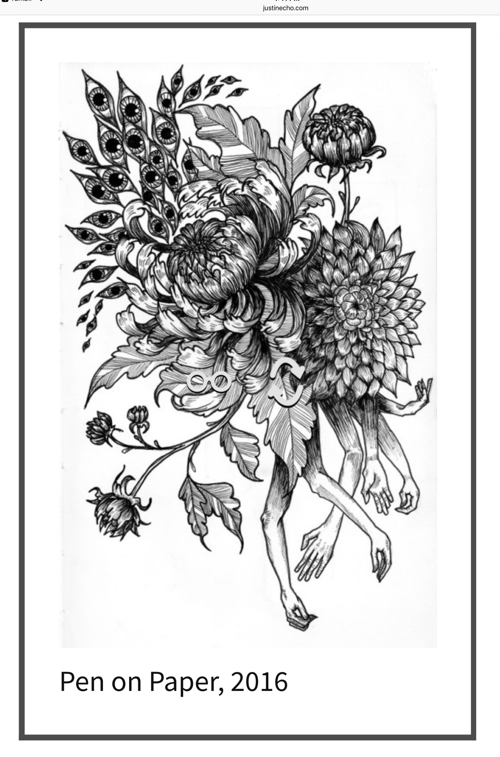 This piece was taken from my apprentice's portfolio website, www.justinecho.com. You can see she had a clear attention to detail and the subject matter would be easily translated into a tattoo. She also has a degree in fine art and a full portfolio of work.