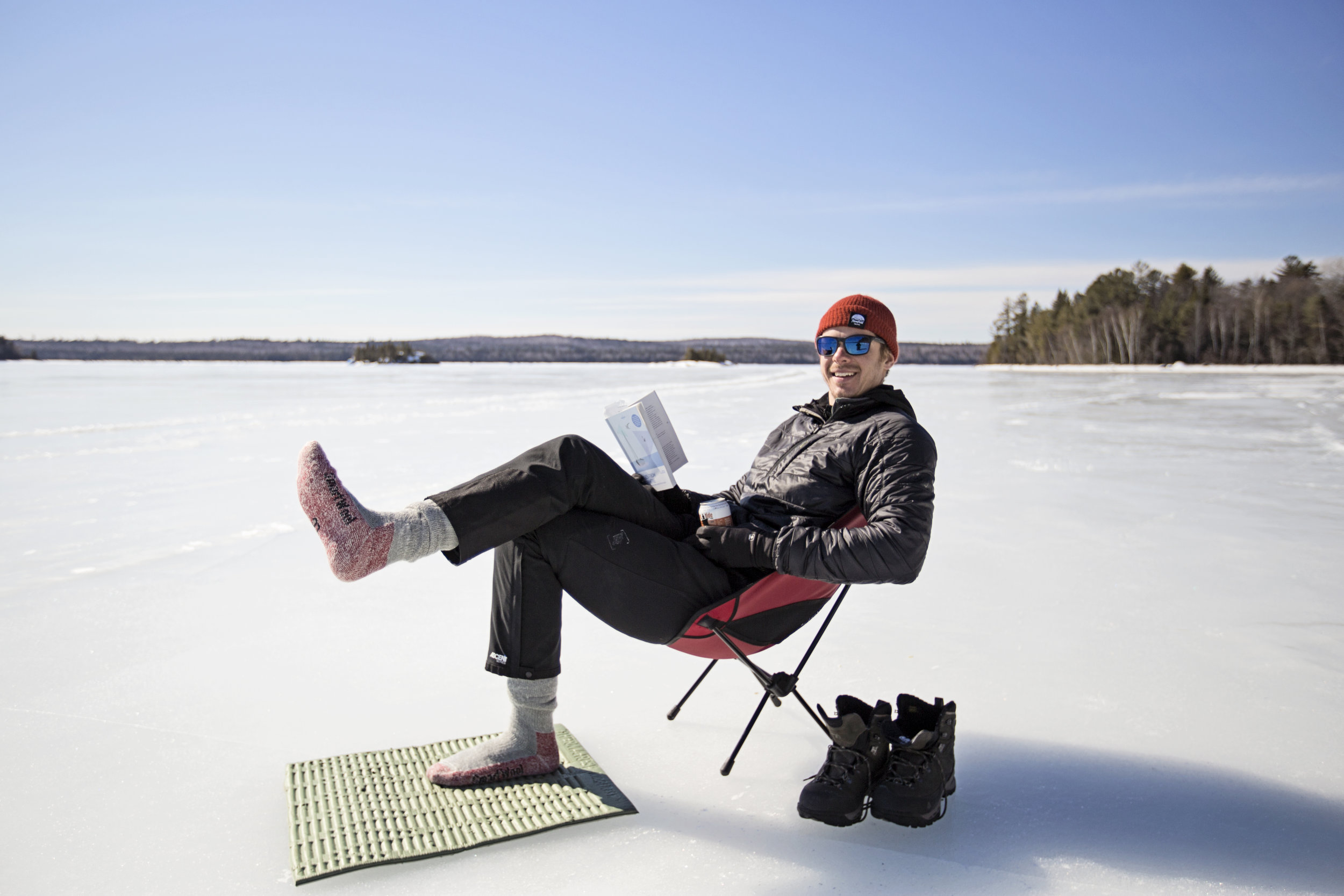 Taking a break on the ice. The temps got well above freezing on the tail end of our trip.