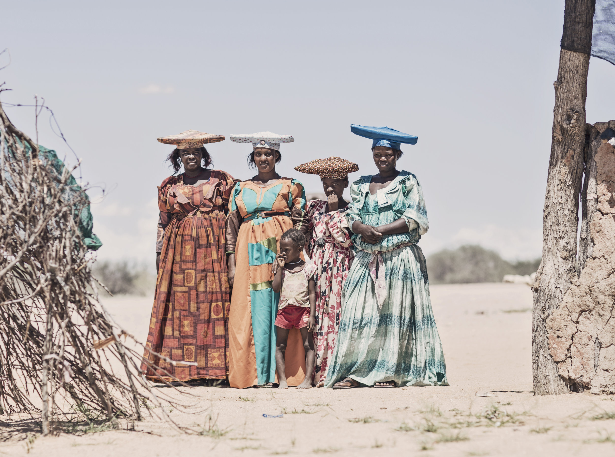 A traditional Herero family in central Namibia.