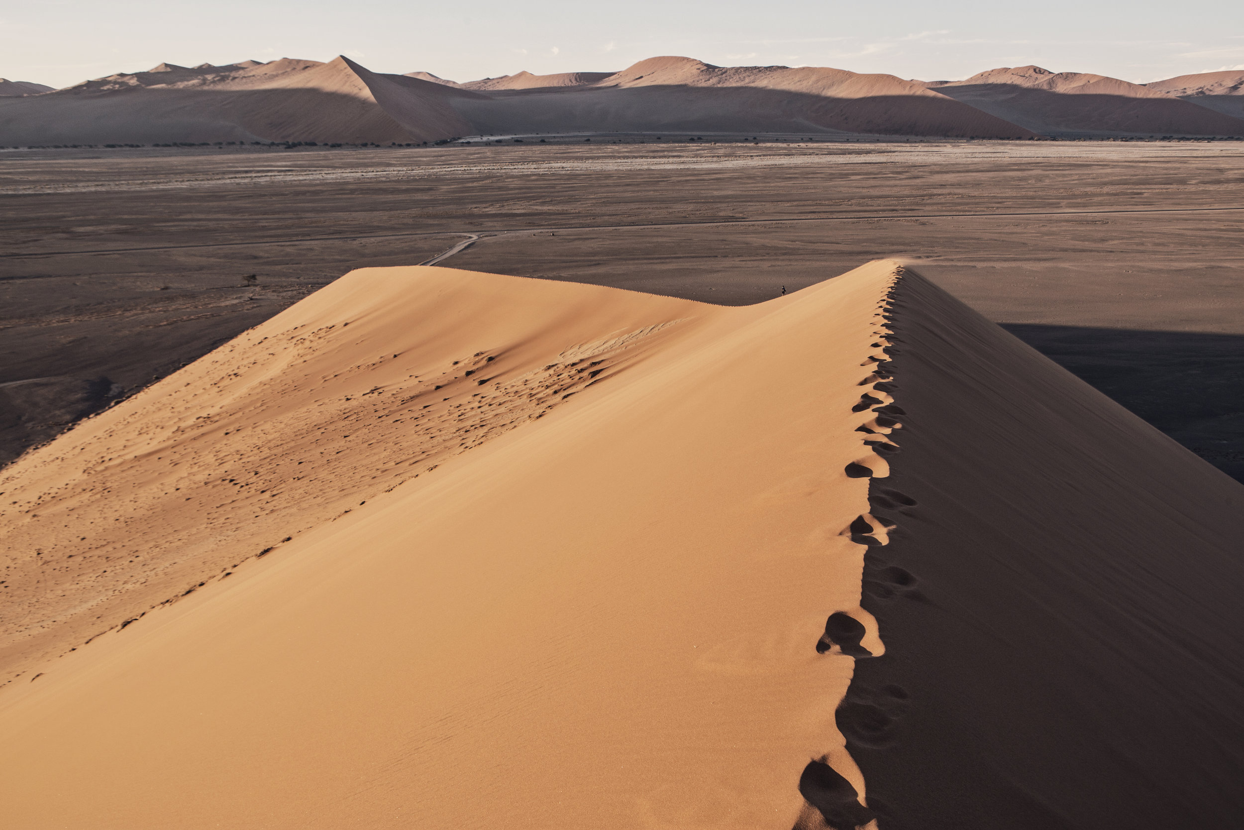 The view from one of the tallest sand dunes on Earth, Namibia.