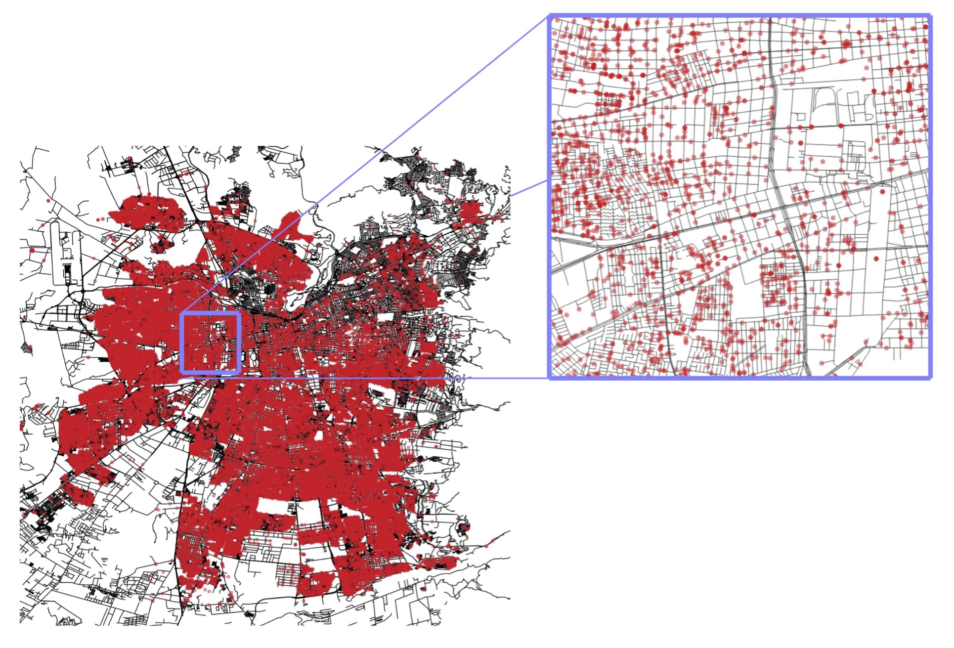 Locations of over 50,000 student protesters in Santiago, Chile during the 2011 student movement