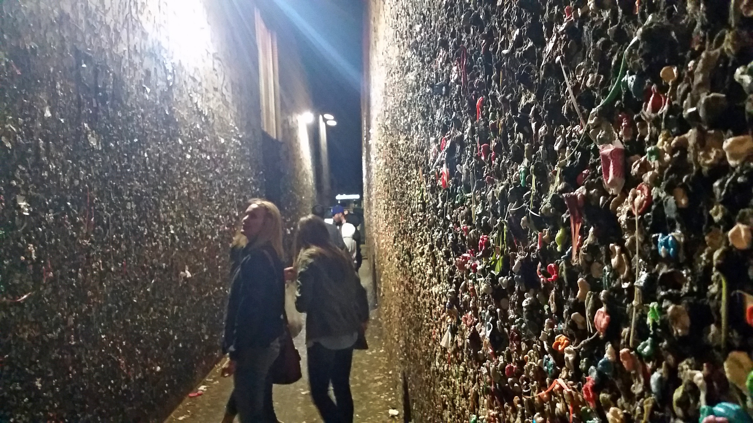 Bubblegum Alley, in San Luis Obispo. Interesting and slightly revolting. I accidentally brushed up against the wall.