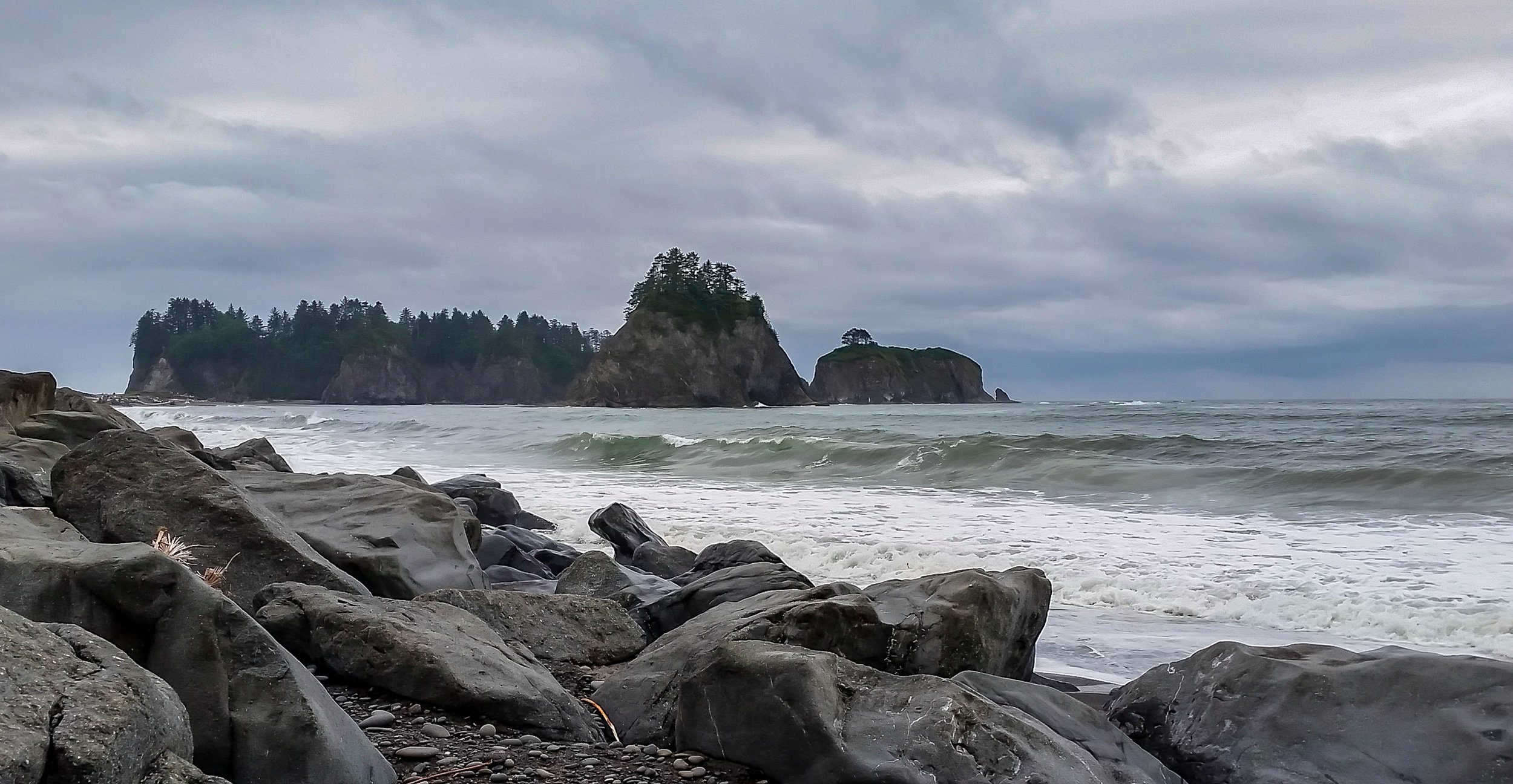 Hazy islands cliffs.