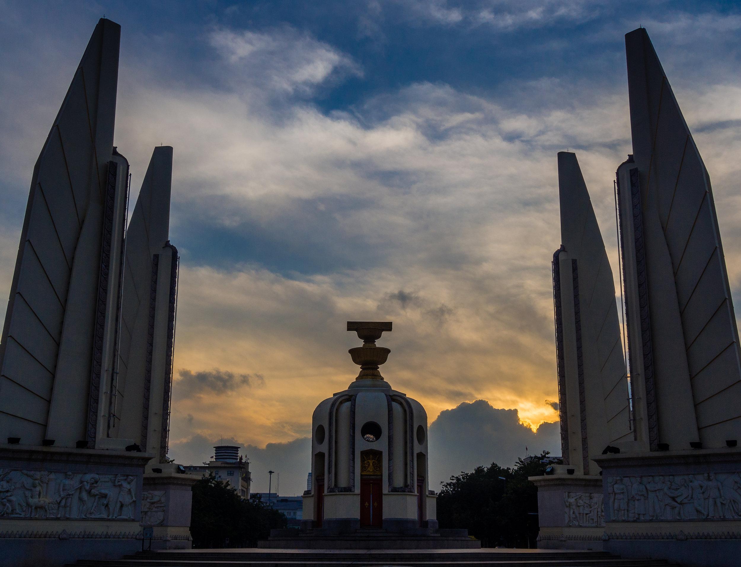 Sunrise at the Democracy Monument. Bangkok has its moments.