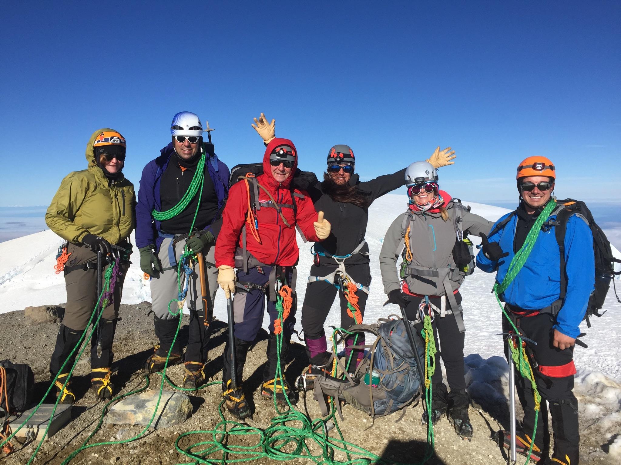 Baker Summit . From the left: Justin Smith (LRC member), Erin Olsen, Krystle Edwards (LRC Director), Pete Edwards, Paul Rosser (AAI guide), and Jeanne Rosser.