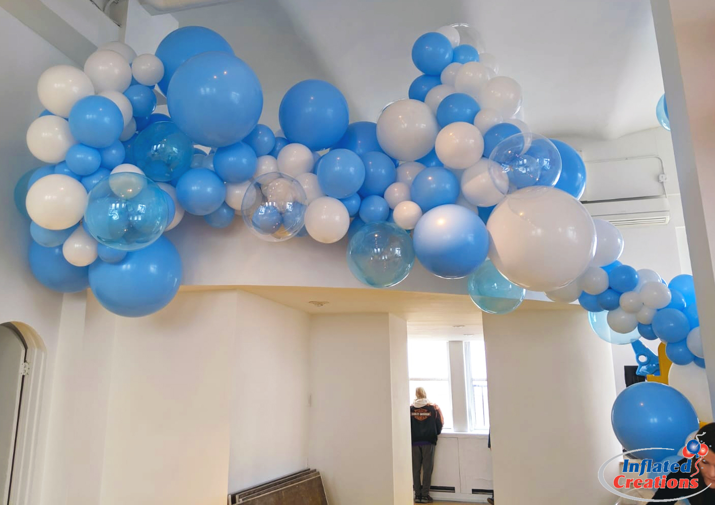 Cloud Balloons Organic Stair Arch