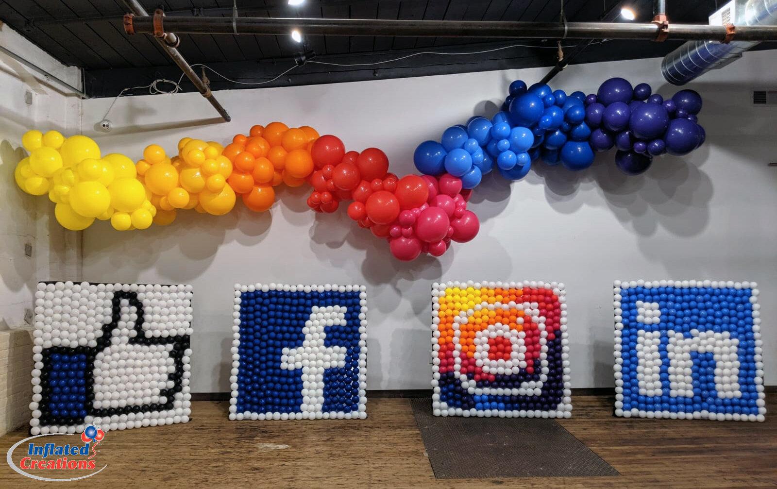 Corporate Logo Rainbow Organic Balloon Arch