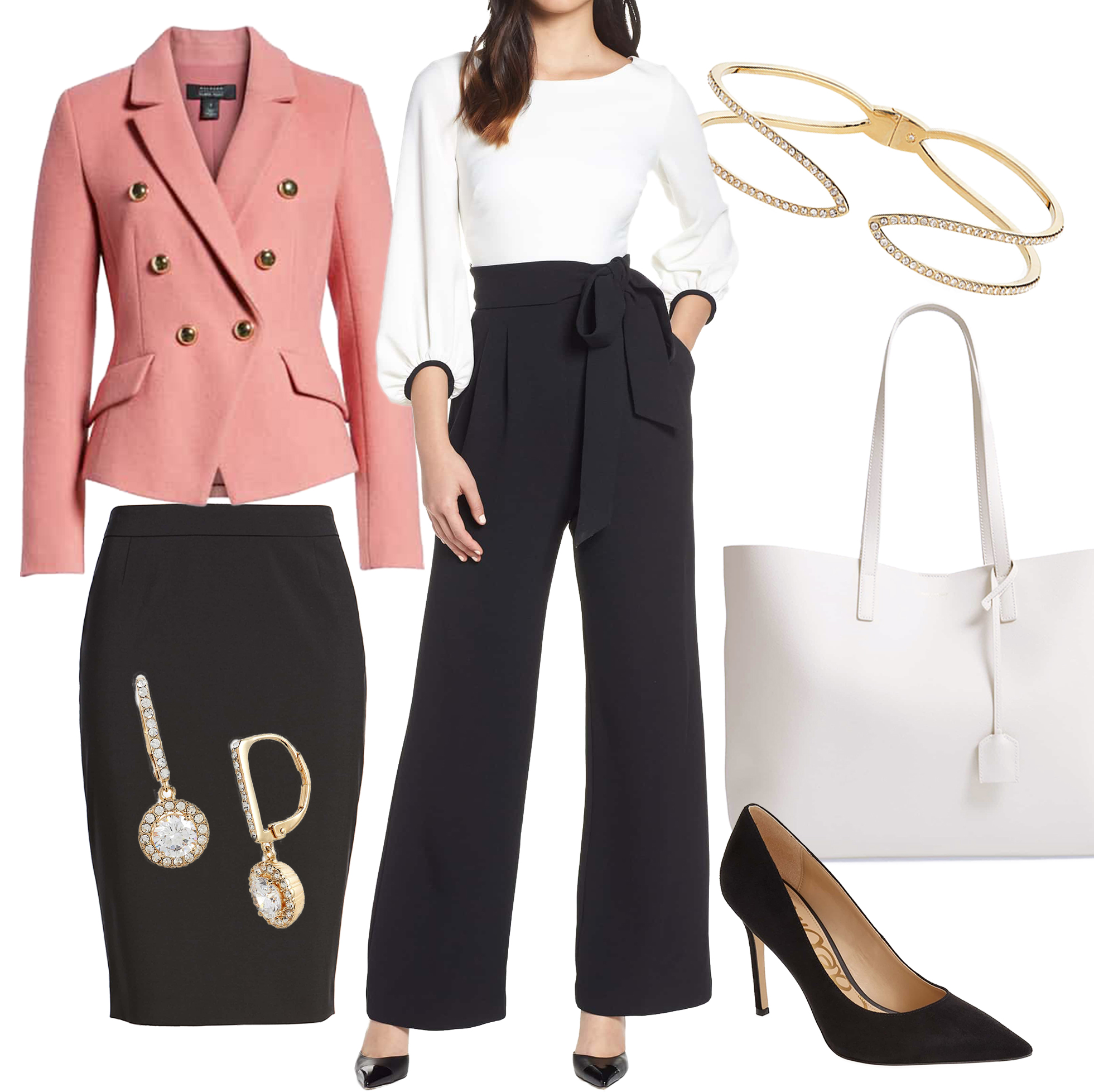 Smart Business - Go-To Pieces:-Dresses-Tailored jumpsuits and tops-Pointed flat or heel-Trendy blazer/jacket-Delicate jewelry-Higher necklines