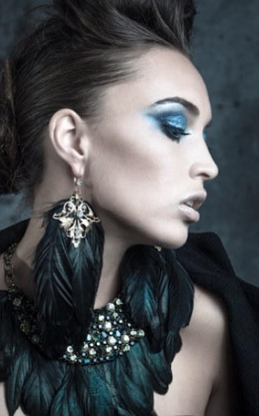Chanel Stewart wearing Balyck Jewellery one of a kind feathered designs.