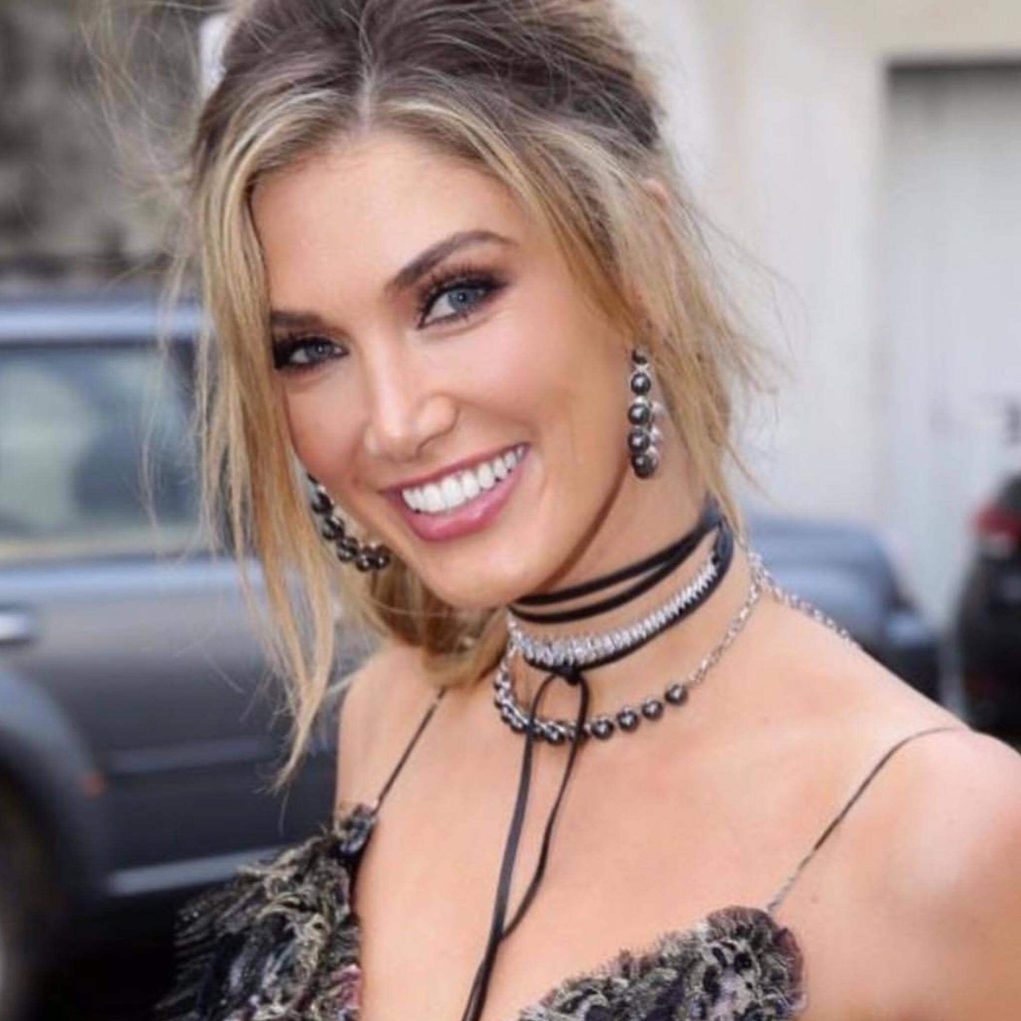Delta Goodrem wearing the Reverie Pearl Earrings and Choker